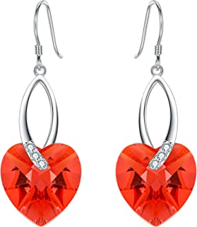 EleQueen 925 Sterling Silver CZ Love Heart French Hook Dangle Earrings Made with Swarovski Crystals