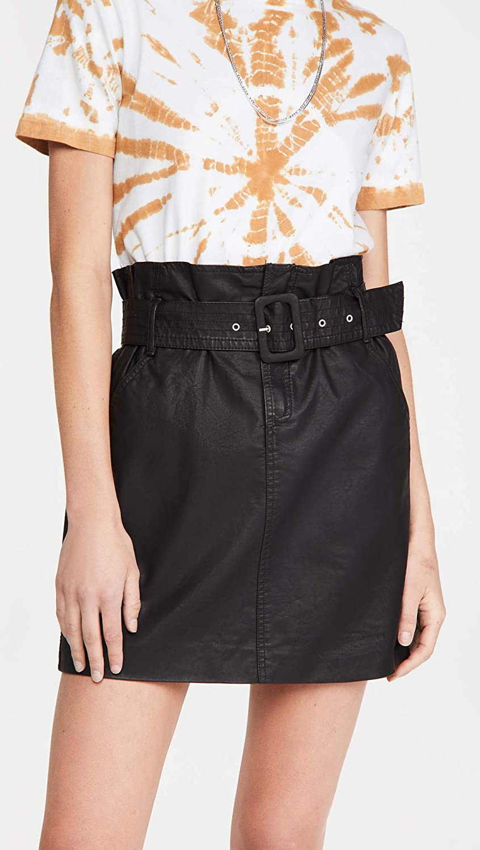 [BLANKNYC] Womens Vegan Leather Self Belted Buckle Mini Skirt