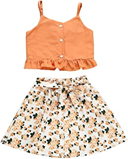 Toddler Baby Girls Outfits Halter Crop Bowknot Strap Tops + Floral Maxi Skirts Shorts Kids Summer Clothes Set