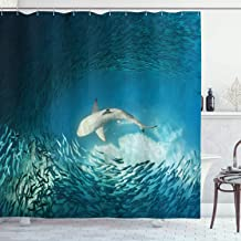 Ambesonne Sea Animals Shower Curtain, Shark and Small Fish Ocean Wilderness Waterscape Wildlife Nature Theme Picture, Cloth Fabric Bathroom Decor Set with Hooks, 75 Long, Teal Beige