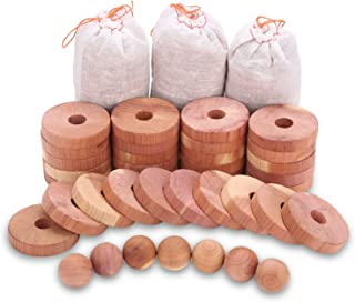 Homode Moth Protection Cedar Hanger Rings, Aromatic Cedar Balls and Cedar Sachets for Closets and Drawers Storage, 40-Pieces Combo Pack