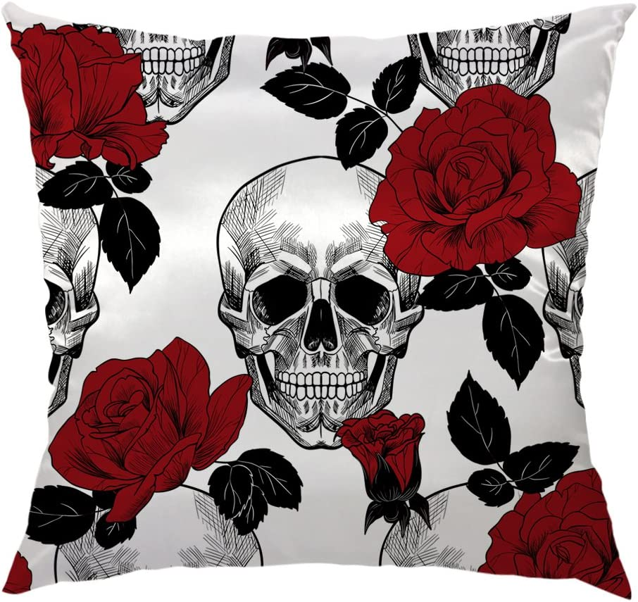 HGOD DESIGNS Skull Throw Pillow Case Manufacturer OFFicial shop Max 52% OFF and Rose Sugar De Red