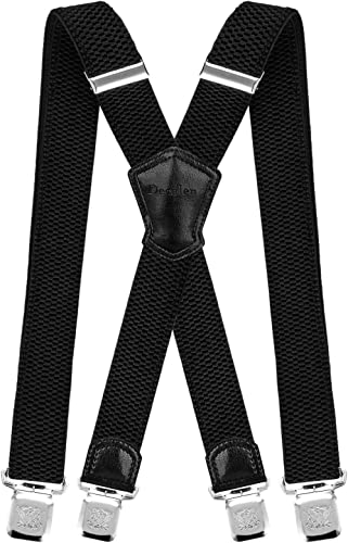 Dig dog bone Mens Y-Shaped Trouser Braces with Strong Clips Adjustable Heavy Duty Suspenders