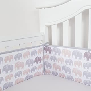 TILLYOU Baby Safe Crib Bumper Pads for Standard Cribs Machine Washable Padded Crib Liner Thick Padding for Nursery Bed 100% Silky Soft Microfiber Polyester Protector de Cuna, 4 Piece/Gray Elephant