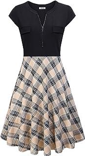 AxByCzD Women's Vintage V Neck Cap Sleeve Casual Patchwork A Line Dress