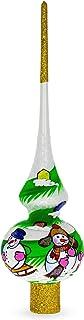 BestPysanky Snowmen on White Glass Christmas Tree Topper 11 Inches