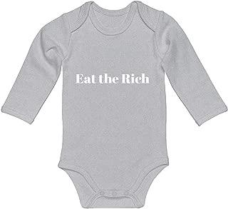 Indica Plateau Baby Romper Eat The Rich 100% Cotton Long Sleeve Infant Bodysuit