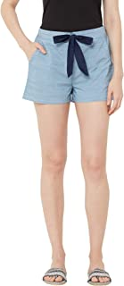 Mystere Paris Classic Textured Lounge Shorts Rayon Loungewear Casualwear Blue Green F482B