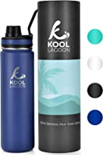 Kool Lagoon Stainless Steel Water Bottle   500ml, 650ml & 1L   Vacuum Insulated   Cold & Hot Flask   Sports Cap   Large Metal Thermos   Leak-proof   For Gym, School, Sports