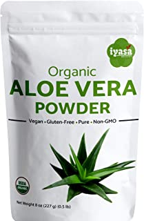 Organic Aloe Vera Leaf Powder,USDA Certified,Resealable Pouch 8 Ounce/225 Gram/0.5 Pound, Aloe Barbadensis Herbal Cosmetics,Natural Hair Skin Care,Moisturizer,Ayurvedic Superfood,Food Grade Supplement