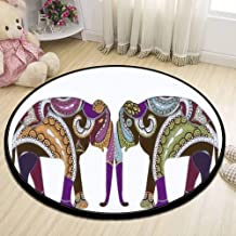 Round Area Rug, ed elephants in ethnic style is a symbol of love and family Non-Slip Fabric Round Rugs for Bedroom Living Room Study Room Playing Floor Mat Carpet - 90 cm (36 inch)