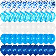 Navy Blue and Blue Confetti Balloons Party Decoration - 50 Pack | Metallic Blue, Marble Blue, Light Blue and White Balloons for Navy Party, Baby Shower, Wedding, Graduation, Bachelorette, Birthday