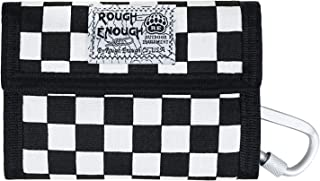 Rough Enough Canvas Big Travel Men Women Wallet Credit Card Holder Coin Purse Pouch Case Organizer with Zipper and Checkerboard Checker Pattern Black White for Outdoor Sport School Boys Girls