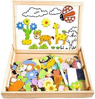 COOLJOY Puzzles Enfant en Bois Magnétique, Jigsaw avec Tableau Noir de Chevalet à Double Face Jouets Educatif pour Bambin ...