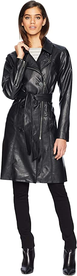 Vegan Leather Trench Coat in The Punisher