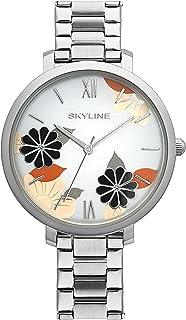 SKYLINE, Reloj de Pulsera para Mujer, Acero Inoxidable, con Herramienta para Ajustar la Correa y Pila Extra, Diseño con T...