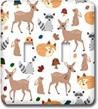 3dRose lsp_242313_2 Woodland Animals Pattern, Fawn Fox Raccoon Rabbit - Double Toggle Switch