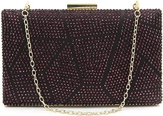 TWTAI Women's Mosaic Geometry Full Diamond Banquet Clutch Bag Wedding Dress Evening Bag Shoulder Slanting Chain Bag Purple (Color : Purple)