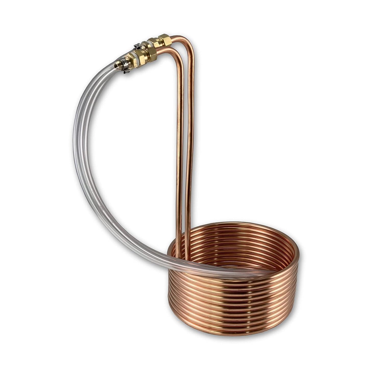 "Coldbreak Homebrew 3-6 Gallon Batch Copper Immersion Wort Chiller, Medium, 3/8"" x 30' Pure Copper, Leak Free Compression Barbs, Tubing and Garden Hose Fitting, USA Made"
