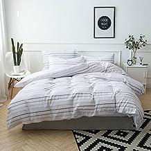 Lausonhouse Cotton Seersucker Quilt Cover Set, 100% Cotton Yarn Dyed Seersucker Stripe Doona Cover Set,3 Pieces Bedding Se...