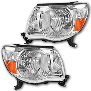 JSBOYAT Headlight Assembly Replacement for 2005-2011 Toyota Tacoma Pickup Chrome Housing Headlamp with Clear Lens Amber Reflector Driver and Passenger Side (Chrome)
