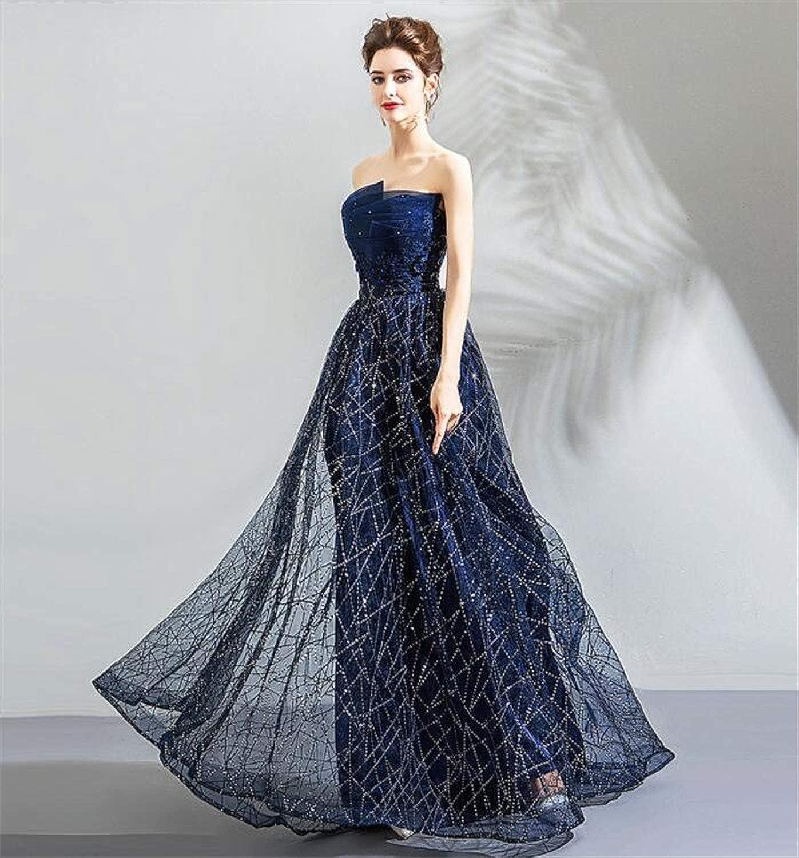 Star Sky Dress Art Fan bluee Tube Top Birthday Dinner Annual Meeting Wedding Dress Bridesmaid Dress