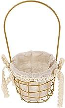 EXCEART Koszyk dla dziewcząt, okrągły druciany kosz do przechowywania z wkładką i uchwytem, metalowy kosz na wesele, do do...