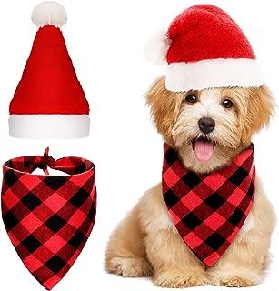 SATINIOR 2 Pieces Christmas Pet Accessories Set Include Dog Santa Hat Dog Bandana Plaid Triangle Scarf