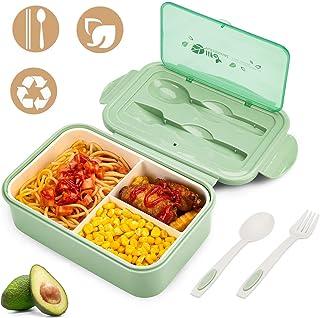 YIKEF Caja Bento Lunch Box Fiambrera Bento 1400 ml 3 Compartimentos 2 Capas con 1 Tenedor y 1 Cuchara,Apto para Microondas Y Lavavajillas   Duradero Saludable Y Apto para Adultos Y Niños