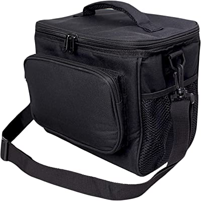 Insulated Lunch Bag for Women/Men - Reusable Lunch Box for Office Work School Picnic Beach - Leakproof Cooler Tote Bag Freezable Lunch Bag with Adjustable Shoulder Strap for Kids/Adult (Black)
