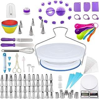 Kit de Pâtisserie 143 pcs Décoration, Plateau Tournant de Gâteau, Décoration Ustensiles en Silicone, outils de cuisson mul...