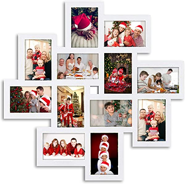Jerry Maggie Photo Frame 24x24 Square Storm Eye White PVC Picture Frame Selfie Gallery Collage Wall Hanging For 6x4 Photo 12 Photo Sockets Wall Mounting Design