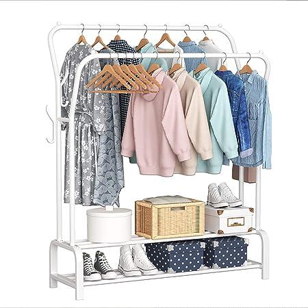 YOLIYOQU Garment Rack Portable Freestanding Double Rod Hanging ...