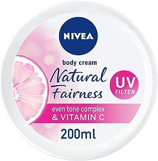 NIVEA Natural Fairness Body Cream, Even Tone Complex & Vitamin C, All Skin Types, Jar 200ml