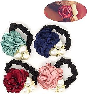Honbay 4 件韩国时尚珍珠发绳玫瑰花发带弹性发带