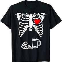 Skeleton Pregnancy Shirt Pizza Beer Xray Halloween Soon Dad T-Shirt