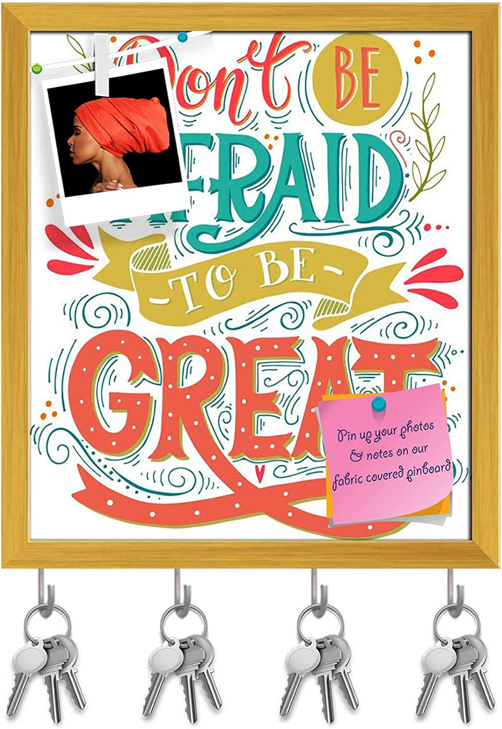 Artzfolio Don't Be Afraid to Be Great D2 Key Holder Hooks   Notice Pin Board   golden Frame 16 X 18.3Inch