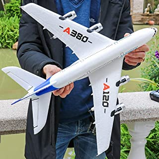 Ycco RC Drone Boeing A380 Plane 2.4G 3CH EPP Flying Toys, Aircraft with 6-Axis Gyro Fixed Wingspan Light Bar DIY RC Airplane RTF Remote Control Stability Jets Toys for Beginners Kids Gifts (White)
