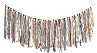 ZOOYOO Fabric Plaid Tassel Garland Lace Burlap Banners Rag Banners Rustic Banner with Tassel Garland Already Assembled Rib...