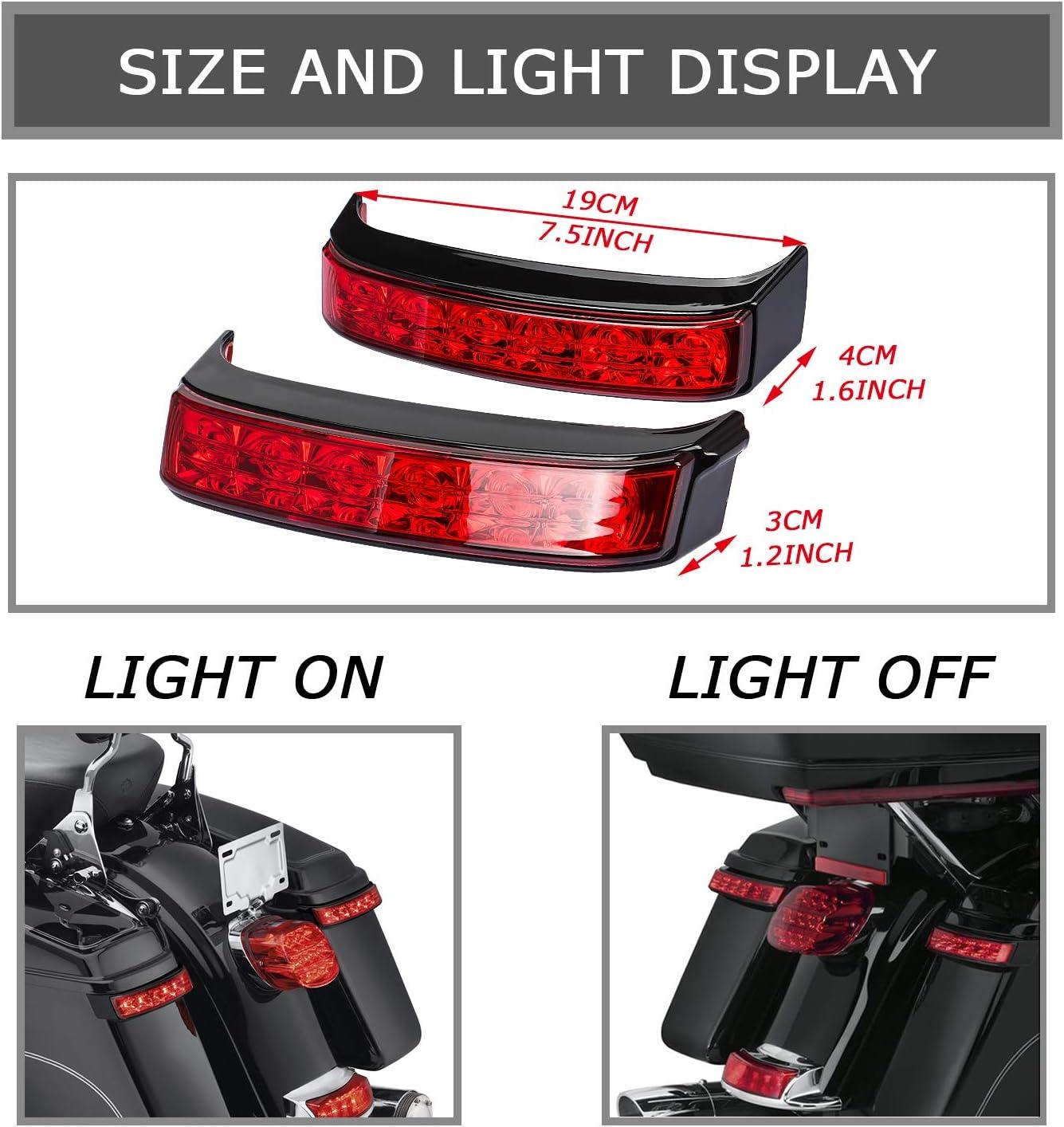 Saddlebag Housing Tail Run Brake Turn Light Lamp LED Len For Harley Touring Street Road Glide CVO Electra Glide Ultra Classic Ultra Limited CVO 2014-2020 Black Red