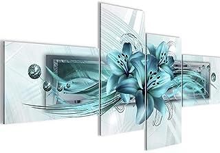 Runa Art Tableau Murale Salon Lis Fleurs Turquoise 4 Parties - Made in Germany - 008745a