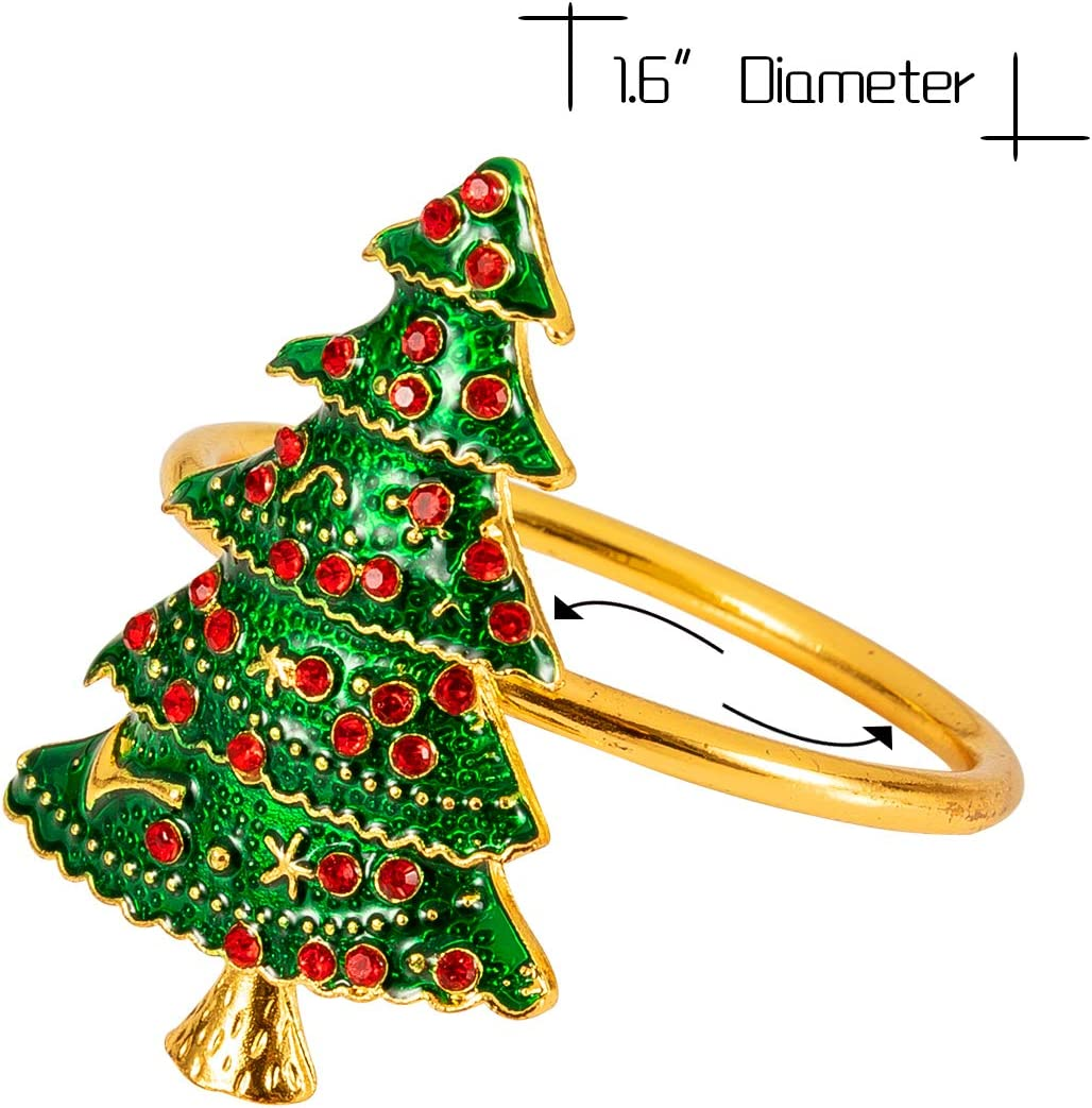 Set of 6 Christmas Napkin Rings 3 Styles Xmas Tree Wreath Bell Napkin Holder Rings Full of Colorful Rhinestones for Christmas Holiday Party Dinner Wedding Banquet Dinning Table Settings Decoration