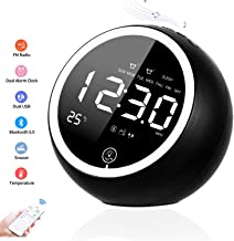 Digital Alarm Clock, Bluetooth Speaker Radio Alarm Clock for Bedrooms, Dual Alarm Clock with FM, Two USB Charger, Sleep Timer, Snooze, Temperature, Dimmer, Loud Alarm Clock for Heavy Sleepers