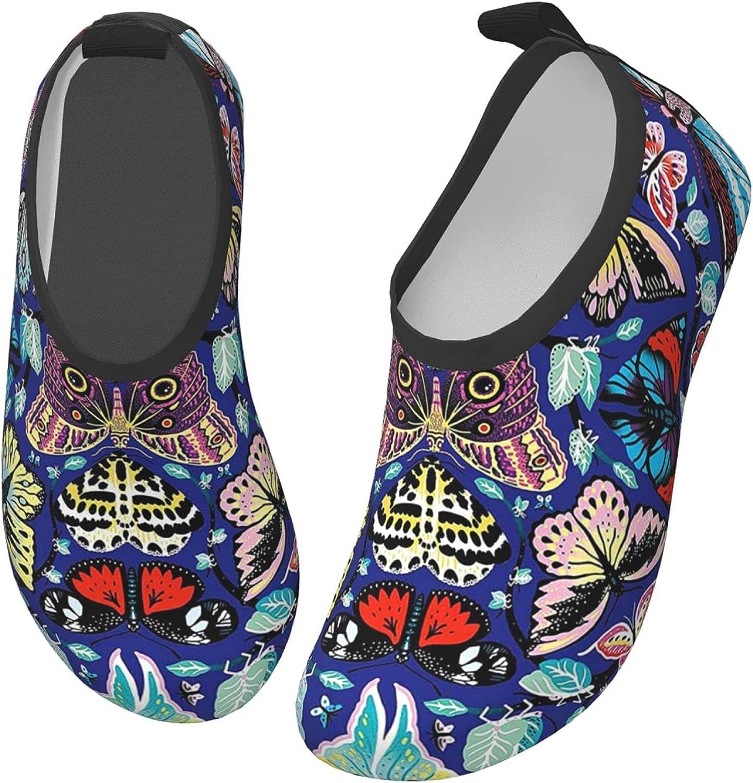 Bluebluesky Kaleidoscope Butterfly Kids Swim Water Shoes, Non-Slip Quick Dry Barefoot Aqua Pool Socks Shoes for Boys & Girls Toddler