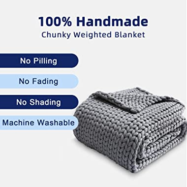 ZonLi Cooling Weighted Blanket 15lbs Queen(60''x80'',Grey),Chunky Knit Blanket Throw Evenly Weighted No Beads
