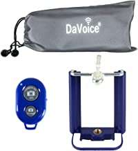 DaVoice Cell Phone Tripod Mount Adapter Holder + Bluetooth Remote Control + Carry Bag Compatible with iPhone X XS XR Se 8 7 6 6s Plus Samsung Galaxy S9 S8 S7 S6 S5 Edge Bracket Attachment (Navy Blue)