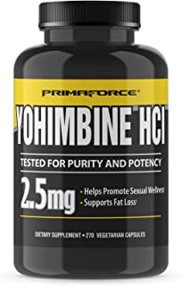 PrimaForce Yohimbine HCl, 2.5mg Capsules - Weight Loss Supplement - Supports Fat Loss, Boosts Metabolism, 270 Count (Pack of 1)