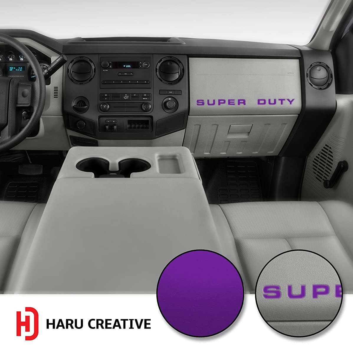 Haru Creative - Dashboard Glove Box Letter Insert Overlay Vinyl Decal Sticker Compatible with and Fits Ford Super Duty F250 F350 F450 (2008-2016) - Metallic Matte Chrome Purple