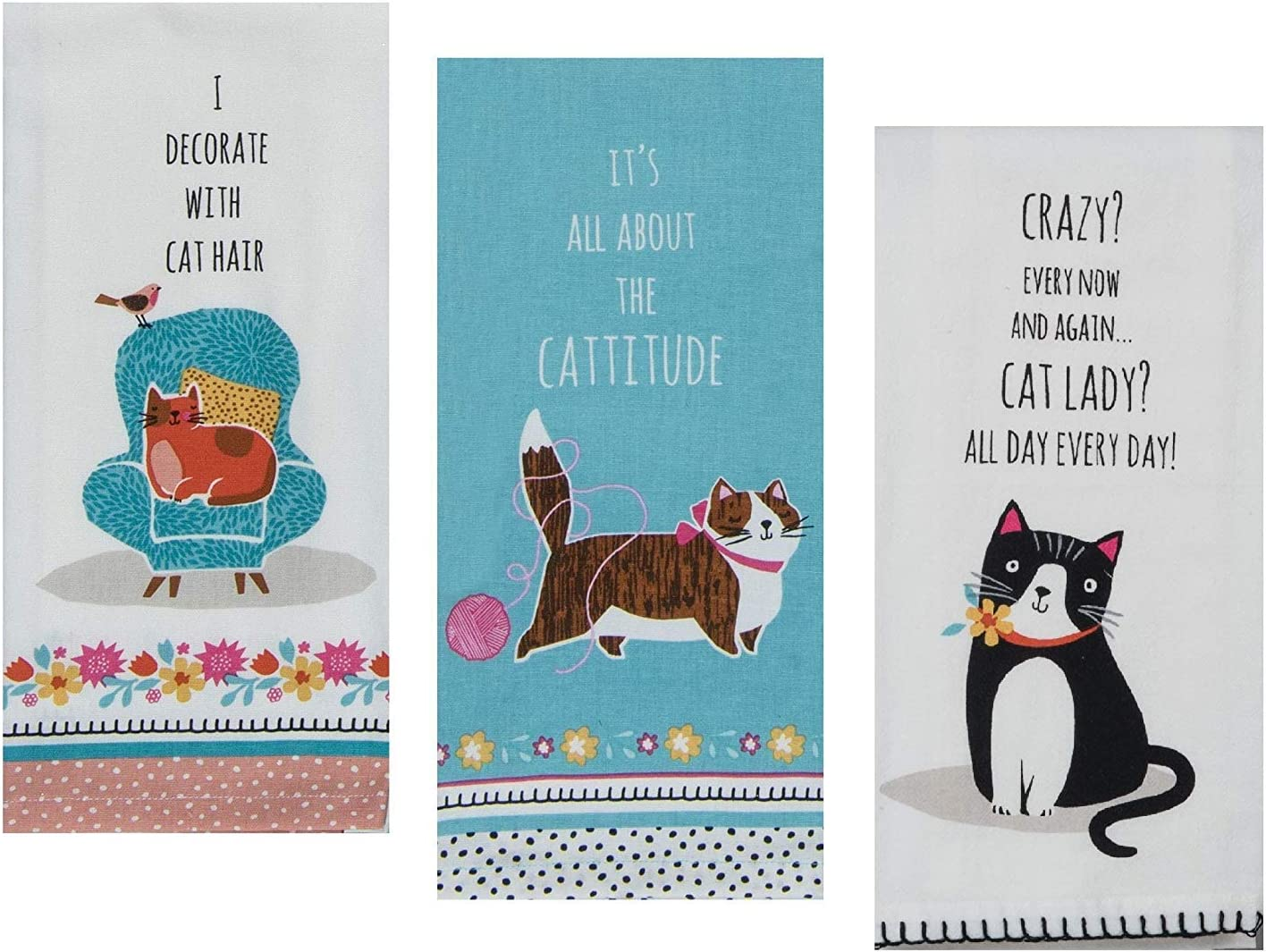3 Cat Themed Decorative Cotton Set Ranking integrated Max 51% OFF 1st place Sayings Towels Kitchen with