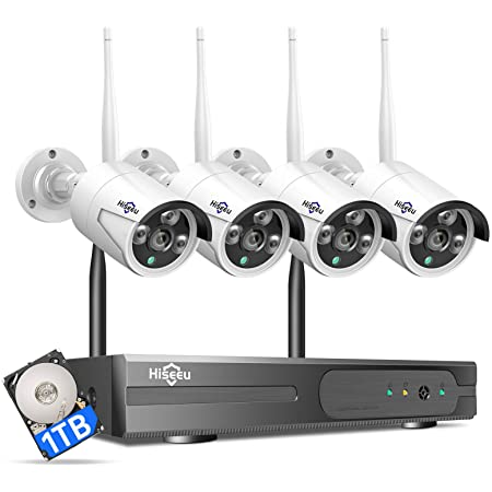 [Expandable 8CH, 2K] Hiseeu Wireless Security Camera System with 1TB Hard Drive with One-Way Audio, 8 Channel NVR 4Pcs 1296P 3.0MP Night Vision WiFi IP Security Surveillance Cameras Home Outdoor